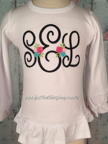 Posh Floral Monogram Girls Shirt - Just The Thing Shop