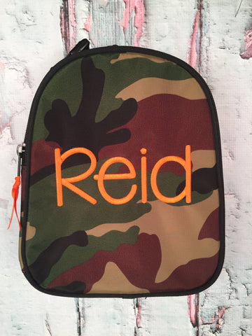 Camo Monogram Nylon Gumdrop Lunch Box - Just The Thing Shop