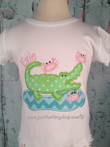 Crabby Gator Applique Girls Shirt - Just The Thing Shop
