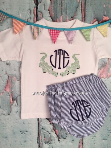 Boys Scribble Alligator Monogram Infant Set - Just The Thing Shop