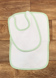 Classic Seersucker Trim Bibs and Burps Set - Just The Thing Shop