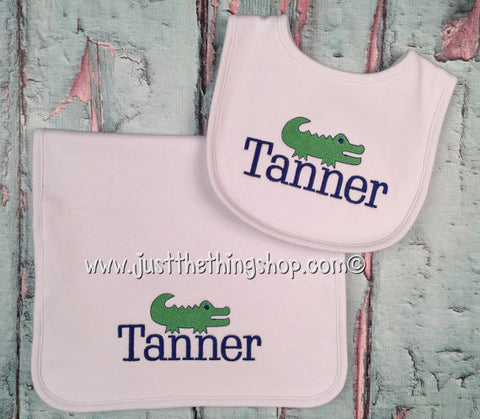 Preppy Alligator Bibs and Burps - Just The Thing Shop