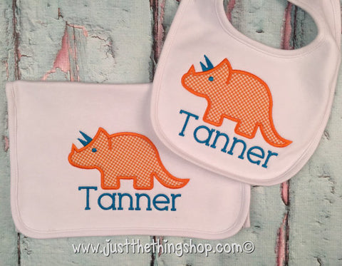 Dinosaur Triceratops Bibs and Burps - Just The Thing Shop