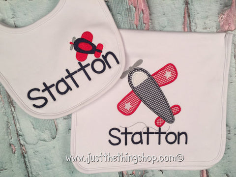 Airplane Bibs and Burps - Just The Thing Shop