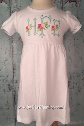 Floral Vintage Monogram Empire Waist Dress - Short Sleeve - Just The Thing Shop