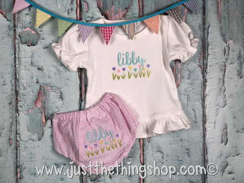 Tulip Monogram Girls Infant Set