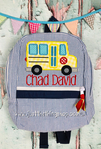 School Bus Applique Backpack - Just The Thing Shop