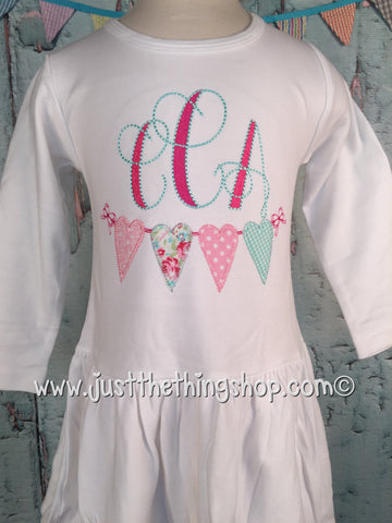 Heart Bunting Applique Monogram Pleat Bottom Dress - Just The Thing Shop