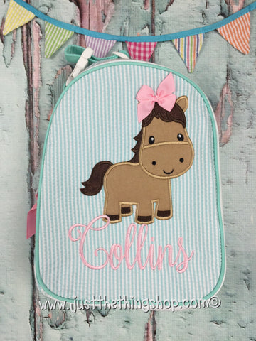 Horse Applique Gumdrop Lunch Box - Just The Thing Shop