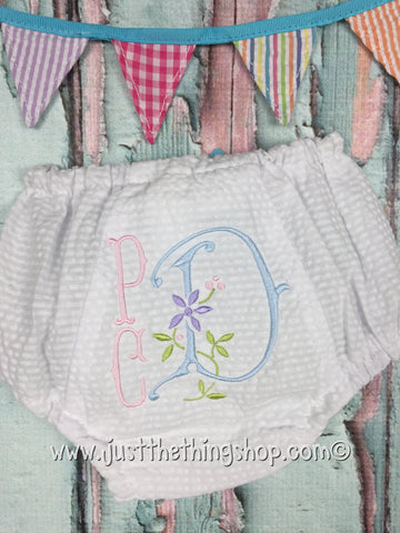 Palmer Monogram White Seersucker Diaper Cover / Bloomers - Just The Thing Shop