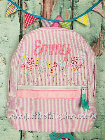 Wildflower Monogram For Girls Backpack - Just The Thing Shop