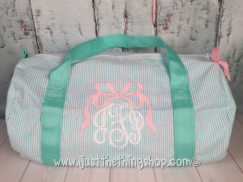 Bow Monogram  Duffel - Just The Thing Shop