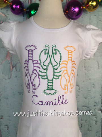 Mardi Gras Crawfish Monogram Girls Shirt - Just The Thing Shop