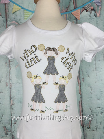 Cheerleader Pyramid Embroidered Girls Shirt - Just The Thing Shop