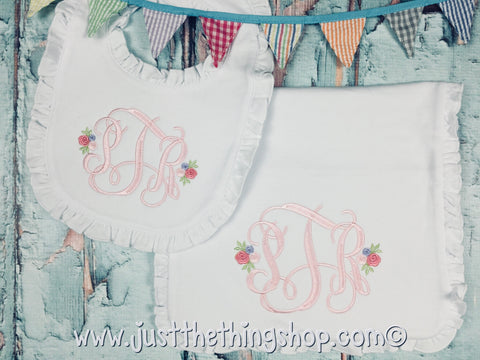 Rosebud Monogram Ruffle Trim Bibs and Burps