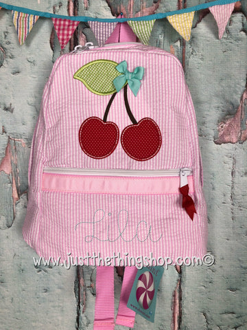 Cherry Applique Backpack - Just The Thing Shop