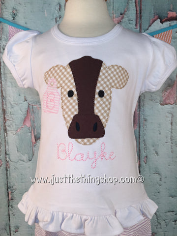 Cow Face Applique Girls Shirt - Just The Thing Shop