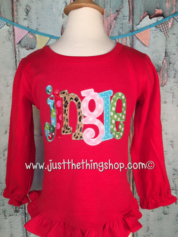 Jingle Applique Girls Shirt - Just The Thing Shop