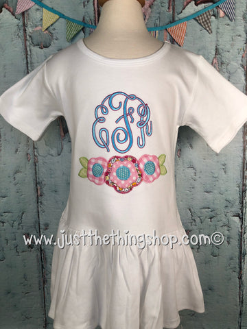 Flower Swag Applique Monogram Pleat Bottom Dress - Just The Thing Shop