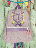 Floral Wreath Monogram For Girls Backpack - Just The Thing Shop