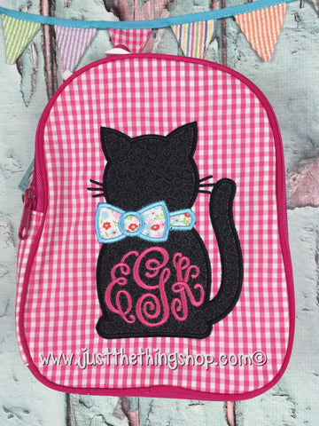 Kitty Cat with Bow Applique Gumdrop Lunch Box - Just The Thing Shop