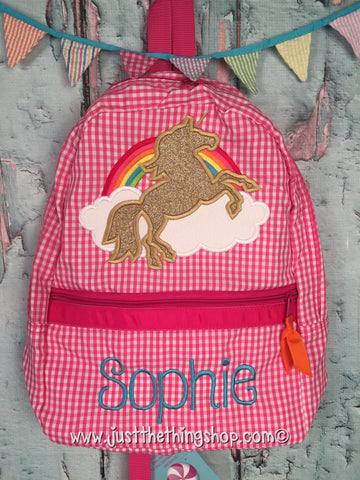 Unicorn Rainbow Applique Backpack - Just The Thing Shop