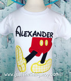 Mickey Mouse Shoes Legs Applique Boys Shirt - Just The Thing Shop