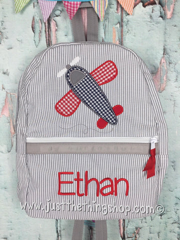 Airplane Applique Backpack - Just The Thing Shop