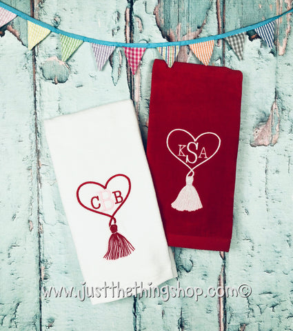 Heart Tassel Monogram Terry Guest Towel - Just The Thing Shop