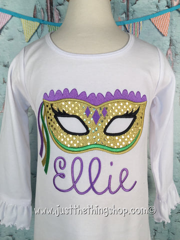 Mardi Gras Mask Applique Girls Shirt - Just The Thing Shop