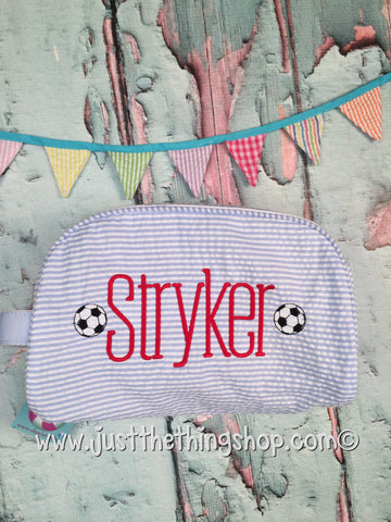 Soccer Ball Monogram Traveler Dopp Bags - Just The Thing Shop