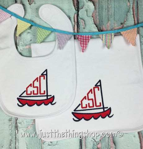 Sailboat Monogram Bibs and Burps - Just The Thing Shop