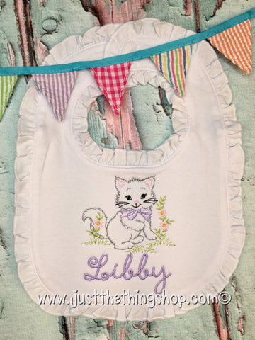 Vintage Baby Kitten Ruffle Trim Bibs and Burps - Just The Thing Shop