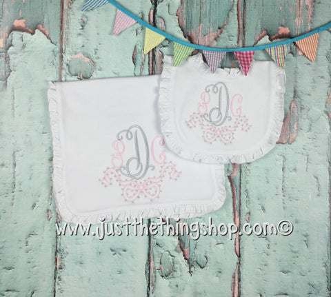 Olly Dotted Bow Monogram Ruffle Trim  Bibs and Burps - Just The Thing Shop