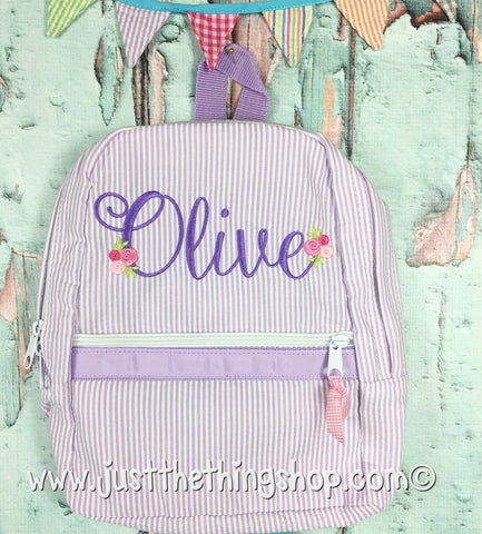 Floral Script Monogram For Girls Backpack - Just The Thing Shop