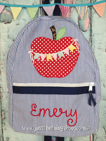 Apple Bunting Applique Backpack