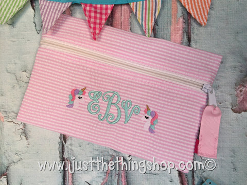 Unicorn Monogram Cosmo Zipper Bag