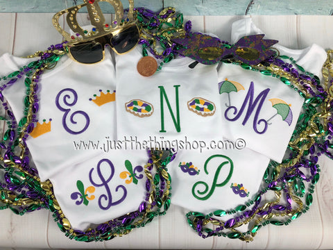 Mardi Gras Monogram Boys Shirt - Just The Thing Shop