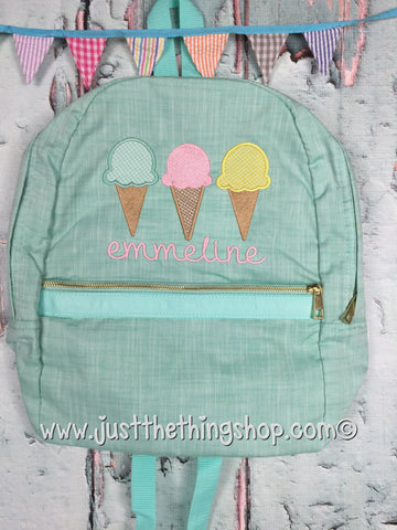Ice Cream Cone Trio Applique Backpack - Just The Thing Shop
