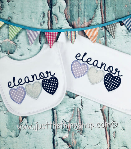 Triple Heart Bibs and Burps - Just The Thing Shop