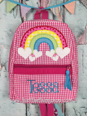 Rainbow With Heart Clouds Backpack - Just The Thing Shop