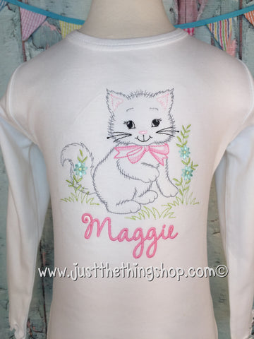 Vintage Kitten Embroidered Girls Shirt - Just The Thing Shop