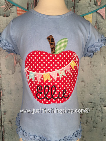 Apple with Bunting Applique Girls Shirt