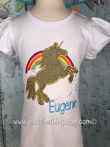 Unicorn with Rainbow Applique Girls Shirt