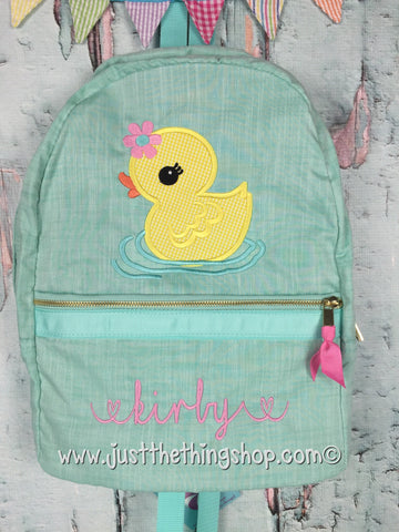 Miss Duckie Applique Backpack - Just The Thing Shop