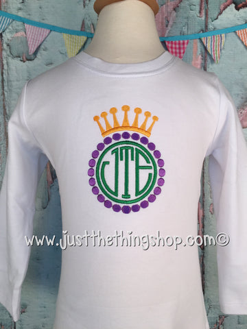 Mardi Gras Crown Monogram Frame Boys Shirt - Just The Thing Shop