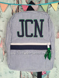 Contrast Stitch Alumni Classic Monogram Backpack - Just The Thing Shop