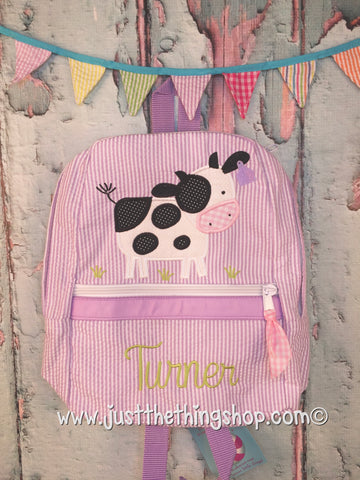 Cow in Pasture Applique Backpack - Just The Thing Shop