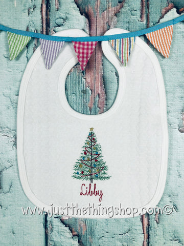 Vintage Christmas Tree Bibs and Burps - Just The Thing Shop