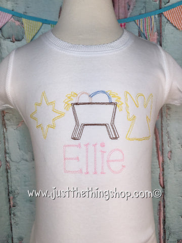 Manger Three in a Row Girls Shirt - Just The Thing Shop